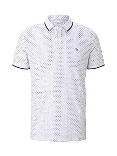 TOM TAILOR Denim Herren AOP Polo T-Shirt, 22221-white small Diamond, XL