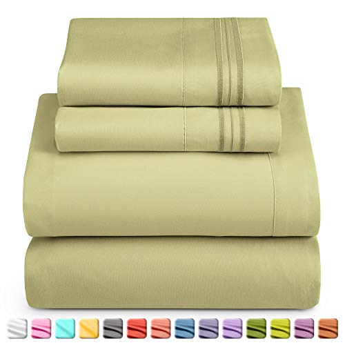Nestl Luxury Queen Sheet Set - 4 Piece Extra Soft 1800 Microfiber-Deep Pocket Bed Sheets with Fitted Sheet, Flat Sheet, 2 Pillow Cases-Breathable, Hotel Grade Comfort and Softness - Sage Olive Green