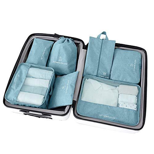 Organizadores de viajes Conjunto de 7 piezas Organizador de equipaje Bolsas de almacenamiento de ropa a prueba de agua Cubos Organizadores de viaje Bolsas de compresión de equipaje Ropa Zapatos Cosmét