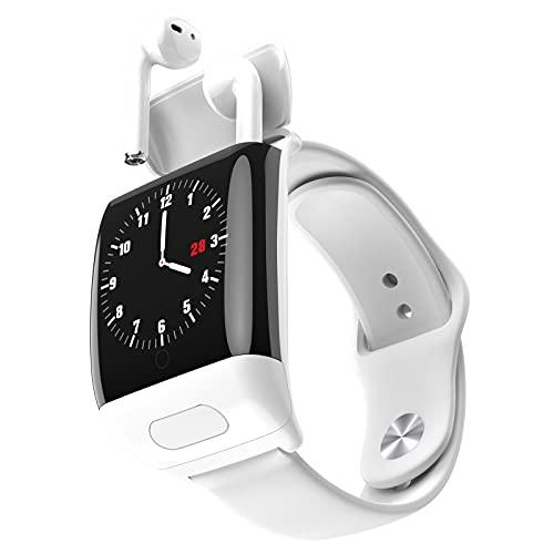 Rvlaugoaa Bluetooth 5.0 Llamada Reloj Inteligente Auricular Bluetooth Pulsera Deportiva Inteligente Rastreador De Ejercicios Recordatorio De Mensajes Smartwatch para Teléfonos iPhone/Android,Blanco