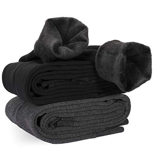 XDDIAS Pack de 2 Leggings para Mujer, Cálido Invierno Terciopelo Elástico Leggings, Térmico Grueso Forro Terciopelo Forrado Pantalones para Niña Mujer, Negro y Gris