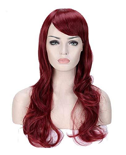 Pruik met lang haar met golvende pony - 62 cm - synthetisch - mahonie rood - vrouw - vermomming - carnaval - halloween - meisje - accessoires - origineel idee voor een verjaardagscadeau