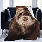Felsiago Throw Blanket, Footed Ferret Face Ultra-Soft Micro Fleece Blanket 50 X 40 Pulgadas Manta cálida para Mujer Sofá Manta de Silla de Viaje Manta Ligera