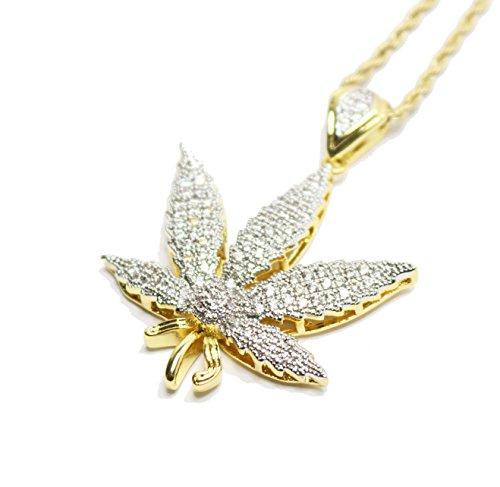 Iced Out Gold Marihuana Weed Leaf Anhänger mit 24in Seil Kette Halskette