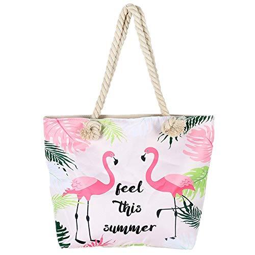 Große Strandtasche,Badetasche Damen Feiertags Einkaufstasche Sommer Segeltuch Reise Umhängetasche mit Reißverschluss Mädchen Flamingo Schultertasche
