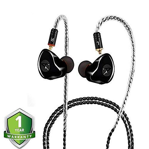 Monitores en la oreja, audífonos con cable Audífonos en la oreja / Auriculares con doble controlador Auriculares, Auriculares con aislamiento de ruido Auriculares HiFi Estéreo (Negro, Sin micrófono)