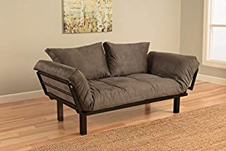 Best Futon Lounger Sit Lounge Sleep Smaller Size Furniture is Perfect for College Dorm Bedroom Studio Apartment Guest Room Covered Patio Porch Key Kitty Key Chain Included. (Gray)