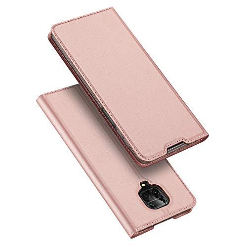 DUX DUCIS Funda Redmi Note 9S, Redmi Note 9 Pro Funda, PU Cuero Flip Carcasa Fundas Móvil de Tapa Libro para Xiaomi Redmi Note 9S / Note 9 Pro (Rosa Dorada)