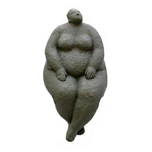 Gall&Zick Design Dekoration Skulptur Deko Figur Statue Akt Kunst Polyresin Dicke Frau Kantenhocker Grau FR-4