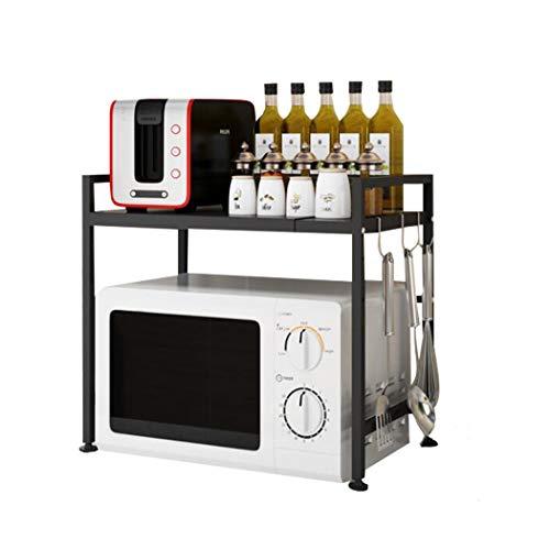 Mikrowellenherd aus Kohlenstoffstahl, Erweiterbares Mikrowellen Regal, 2-stufiges Platzsparregal und Organizer für Küchenarbeitsplatten mit 3 Haken, 110 lbs Gewichtskapazität, Schwarz H Typ
