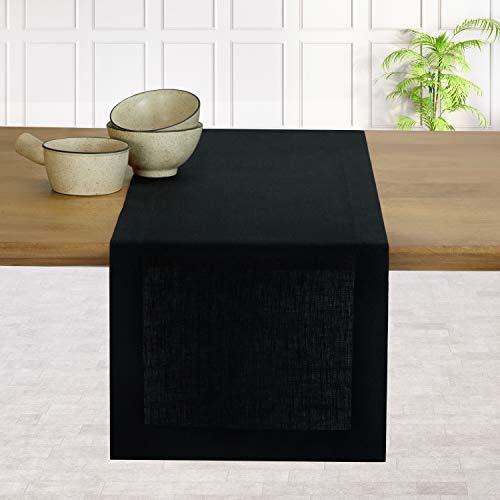D'Moksha Homes 100% Pure Linen Hemmed Table Runner - 14 x 90 Inch Amazing Black, Premium Natural Fabric European Flax, Machine Washable, Handcrafted Dresser Scarf, Mitered Corners, Great Gift Choice