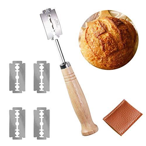 SCOBUTY Bäckermesser,Brot Bäcker Cutter,Bread Lame,Baguettemesser,Bäckermesser Teig,Brot Lame Scoring Tool, Lame Brotmesser Enthält 5 Klingen und Lederschutzhülle
