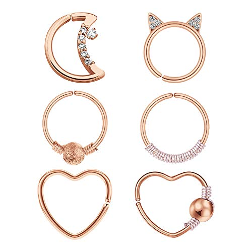 Daith Rook Snug Tragus Piercing Earrings Stainless Steel Heart Moon Circle Shaped Rings Ear Cartilage Body Jewelry 6 Pieces Rose Gold
