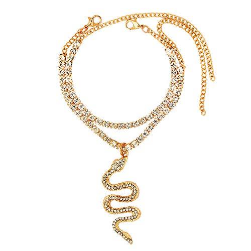 Cadena de pie de moda cadena de tenis serpiente rhinestone pulsera tobillera para mujer colgante de cristal tobillera playa pie descalzo joyería