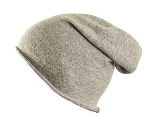 MayTree Beanie-Mütze, dünne leichte Mütze aus 100{ea996d01900fbf5668099a68e51a3feb9dfb6d7bc6a7fe420e41df83bb828d22} Kaschmir, Kaschmir-Mütze Unisex für Damen und Herren in schwarz, grau und Altrosa