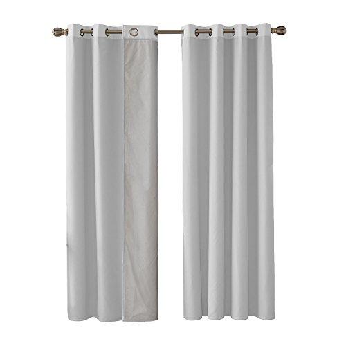 Deconovo Cortinas Dormitorio Térmicas Asilantes con Forro de Gris Plata para Ventanas 2 Piezas 140 x 180 cm Blanco Grisáceo