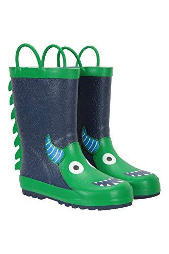 Mountain Warehouse Character Junior-/Kinder-Gummistiefel – wasserdichte Regenstiefel, robust, komfortabel, pflegeleicht, einfach Abwischen Dunkelblau Kinder-Schuhgröße 30.5 DE