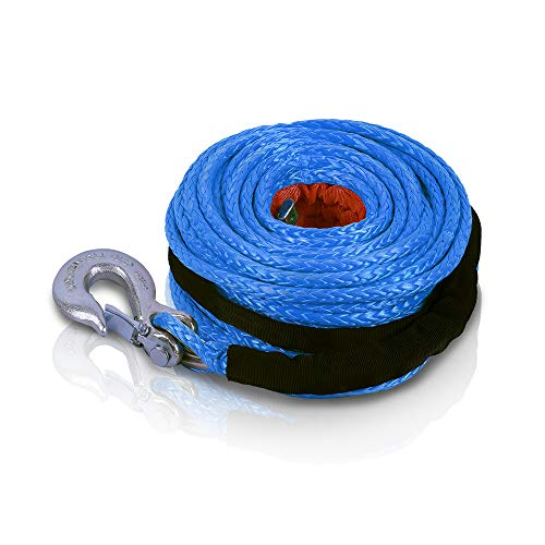 """STEGODON 3/8"""" x 100ft Synthetic Winch Rope 23,809lbs Dyneema Winch Cable Line with Hook and Sleeve ProtectionCar Tow Recovery Cable for 4WD Off Road Vehicle Truck SUV Jeep(Blue)"""