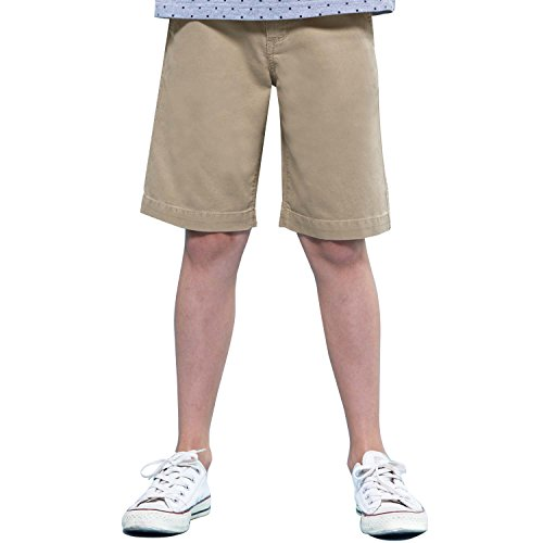 Leo&Lily Boys' Kids Casual Cotton Poplin Cargo Short (580KHAKI,14)