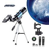 Aomekie Telescopio para Niños Principiante 70/300 Astronomico Refractor con Trípode...