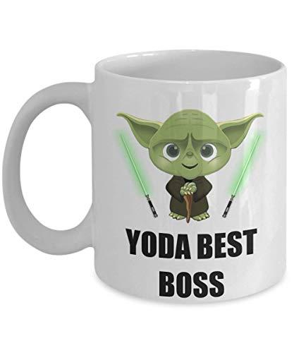 N\A Taza de Yoda Best Boss - Regalos de Fiesta de cumpleaños para el Trabajador, Empleado, Personal de Oficina, Esposo, Esposa, Hombres, Mujeres, él, Ella, Star Wars, Taza de café Jedi