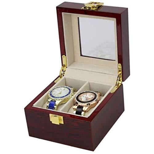 ZHANG Reloj con Compartimentos Ventana Transparente Caja de Presentación de Joyas con Tapa Organizador de Exhibición de Almohadillas Extraíbles