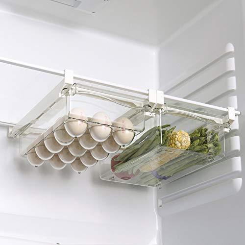 Organizador de nevera transparente, organizador de nevera, caja de almacenamiento para nevera plegable con cajón organizador para frigorífico (01+02)