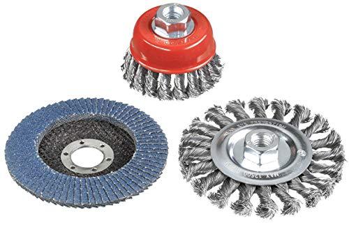 kwb 597510 Drahtbürsten-Set für Winkelschleifer mit M14-Aufnahme inkl. 115 mm Schleifscheibe K-80 für Reinigungs-und Schleifarbeiten
