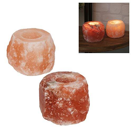 Hestia Himalaya Rock Zout Theelicht Houders - Hand Gesneden Kwaliteit 100% Originele Himalaya Crystal Rock Zout Lamp Natuurlijke