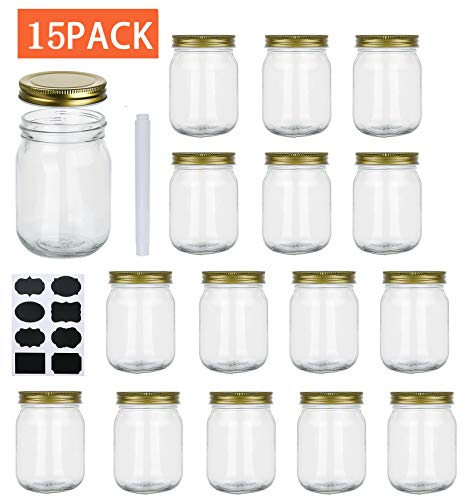 16 oz Glass Jars With Lids, Set Of 15