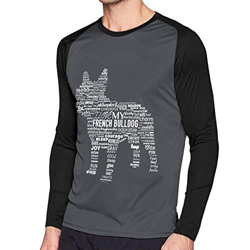 Camiseta clásica de Manga Larga para Hombre, Men's Casual Green Bull Dog Long Reglan Jersey T Shirts