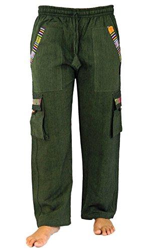 Guru-Shop Yogahose, Goa Hose im Ethnostyle, Herren, Olive, Baumwolle, Size:M (48), Hosen Alternative Bekleidung