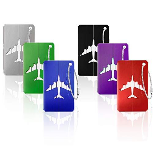 6 Stück Kofferanhänger Koffer- Tags mit Namensschild Adressschild Gepäckanhänger aus Metall
