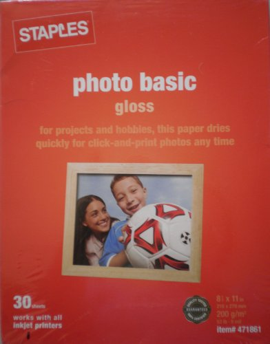 Price comparison product image Staples Photo Basic Gloss 471861 ~ for projects and hobbie,  this paper dries quickly for click-and-print photos any time