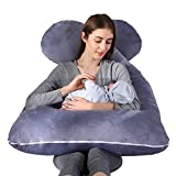moxuan Pregnancy Pillow, 55-inch Gray U-Shaped Pillow, with Cotton Cover