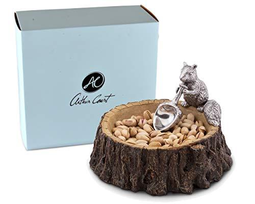 Arthur Court Designs Aluminum Standing Squirrel on Log Nut / Candy / Snack Bowl Dish 7 inch Diameter