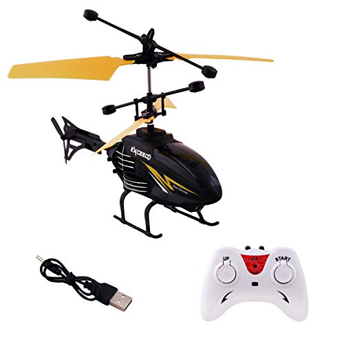 Gooyo Exceed Induction Flight 2 in 1 Radio Control Helicopter with 3D Light for Indoor Fying (Yellow)