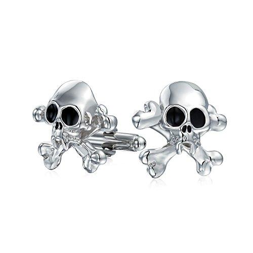 Bling Jewelry Crâne De Pirate Caraïbes Motards Tête De Mort Boutons De Manchette Chemise Solide Charnière Acier Ton Argenté Retour
