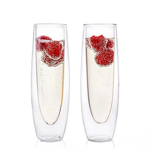 Youdert Conjunto de flauta de champán sin paredes de 2 | 5 oz moderno, cristal claro champagne de cristal | Gafas de tostado de 6.42 pulgadas de altura