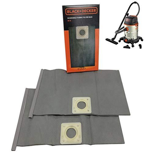 Black Decker Staubsaugerbeutel 30 l – 2 Stück aus wiederverwendbarem Stoff – Modelle BXVC25PDE – BXVC30