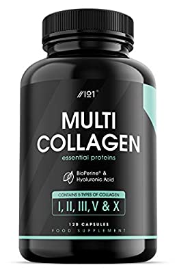 Collagen Complex Capsules - 5 Type Food Sourced Collagen - Hydrolysed Grass Fed Bovine, Wild Caught Marine & Free-Range Chicken, Hyaluronic Acid & BioPerine®, 120 Count (1 Pack)
