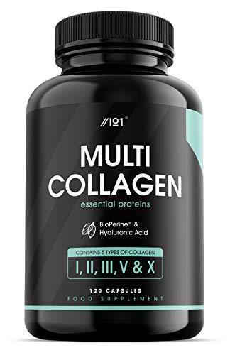Cápsulas de Complejo de Colágeno - 5 Tipos de Colágeno de Origen Alimentario - Pollo Hidrolizado Alimentado con Pasto Bovino y Pez Capturado en Mar Hecho. Con Acido Hialurónico, 120 Unidades