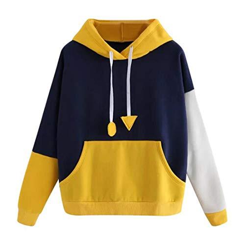 Csc Hoodie Damen Pullover Damen Elegant Komfortabel Patchwork Süßer Mode Pullover Winter Langarm Damen Sweatshirt Streetwear Mit Taschen A-Yellow XXL