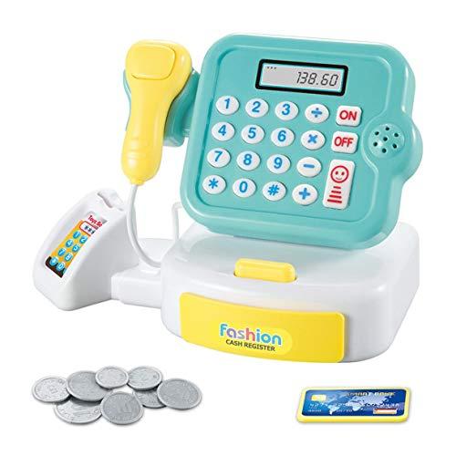 Morninganswer Jouets à la Maison pour Enfants Mini supermarché caissier Jouets calculer Les Cadeaux de Filles avec Son et lumière Caisse enregistreuse Jouet Vert