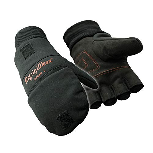RefrigiWear Fleece Lined Fiberfill Insulated Softshell Convertible Mitten Gloves (Black, Large)