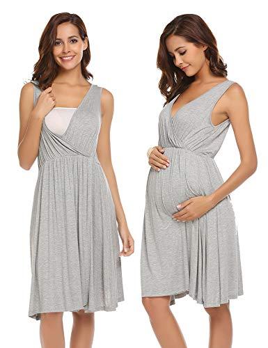 Ekouaer Maternity Nightgown Pregnant Women's Sleeveless Breastfeeding Dress, 6858-grey, Medium