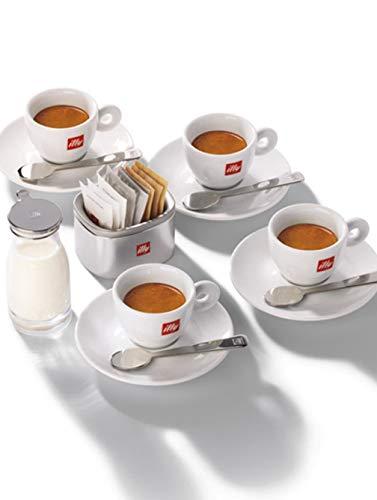 illy Elegante Set 4 Tazzine Caffè con Piattino, Cucchiaini, Lattiera e Porta Zucchero