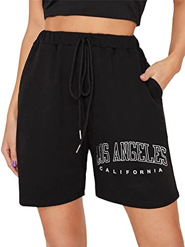 Tomwell Pantalones Cortos de Deporte Mujer Pantalon Corto Chandal de Verano para Mujer Casual Deportivos Shorts para Correr Yoga Fitness Gimnasio Negro M