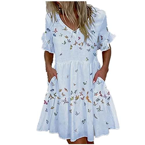 WXDSNH Vestido De Bolsillo con Volantes Estampado Corto De Moda para Mujer Mujer