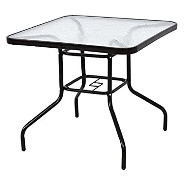 TANGKULA Patio Table 31.5  Tempered Glass Top Metal Frame Outdoor Garden Poolside Balcony Dining Bistro Table (Square)